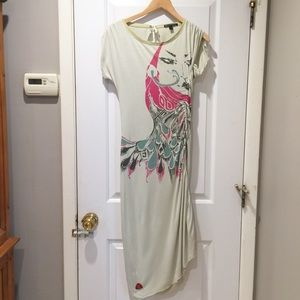 Tee T Shirt Midi Dress Face Graphic Burn n Violet